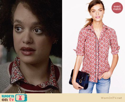 J. Crew Liberty Shirt in Betsy Ann Floral worn by Britne Oldford on Ravenswood