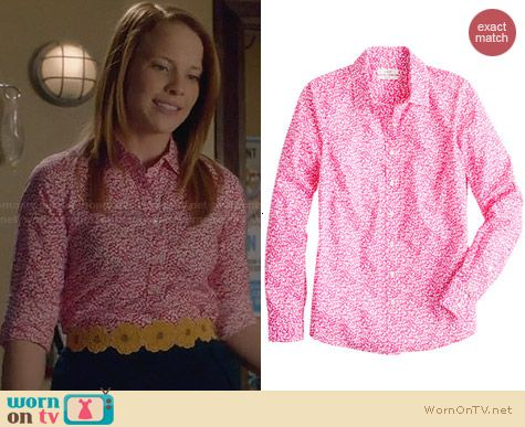 J. Crew Liberty Shirt in Glenjade worn by Katie Leclerc on Switched at Birth