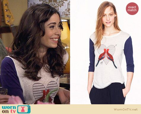 J. Crew Linen Lovebirds Tee worn by Cristin Milioti on HIMYM