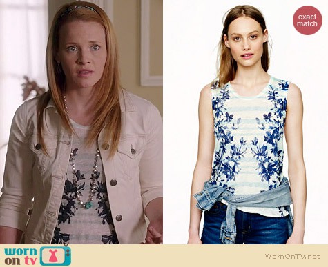 J. Crew Linen Swing Tank in Photo Floral worn by Katie Leclerc on Switched at Birth