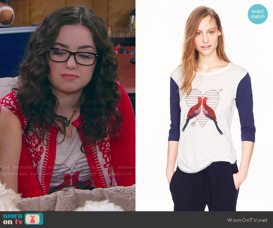 J. Crew Linen Baseball Tee in Lovebirds worn by Sarah Gilman on IDDI
