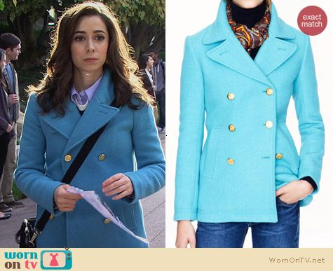 J. Crew Majesty Pea Coat in Blue worn by Cristin Milioti on HIMYM