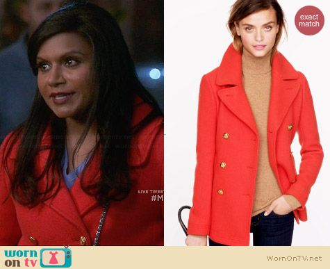 J. Crew Majesty Pea Coat in Decadent Red worn by Mindy Kaling on The Mindy Project