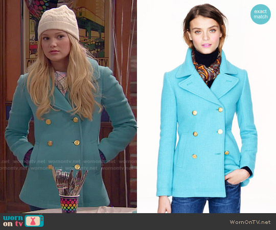 J. Crew Majesty Peacoat in Hthr Mineral worn by Olivia Holt on IDDI