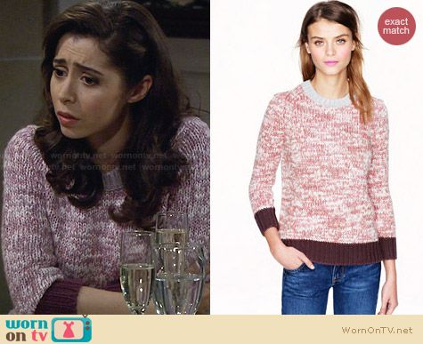 J. Crew Marled Colorblock Sweater in Blush Dusk Fig worn by Cristin Milioti on HIMYM