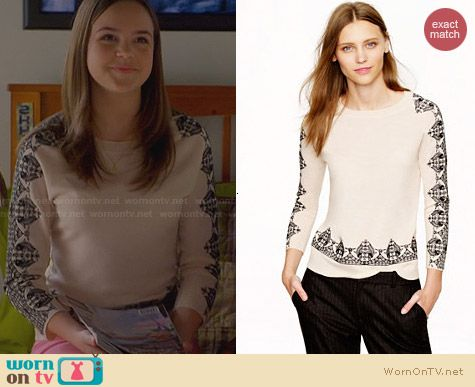 J. Crew Merino Embroidered-Lace Sweater worn by Bailee Madison on Trophy Wife