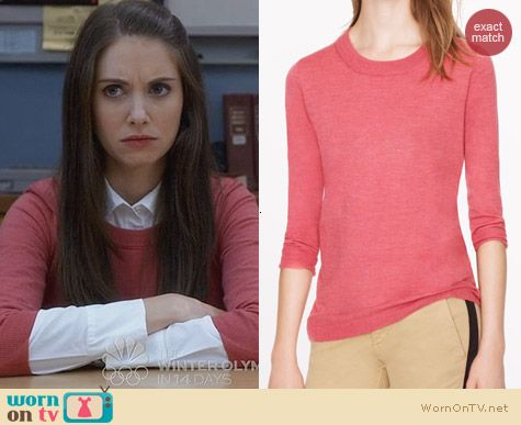 J. Crew Merino Tippi Sweater in Pink worn by Alison Brie on Community