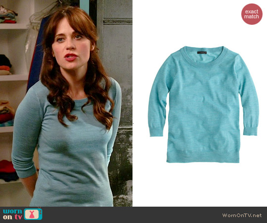 J. Crew Merino Wool Tippi Sweater in Hthr Mineral worn by Zooey Deschanel on New Girl