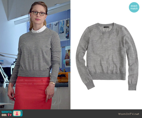 J. Crew Merino Wool Crewneck Sweater in Hthr Smoke worn by Melissa Benoist on Supergirl