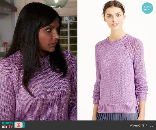 J. Crew Metallic Side-Slit Sweater worn by Mindy Kaling on The Mindy Project