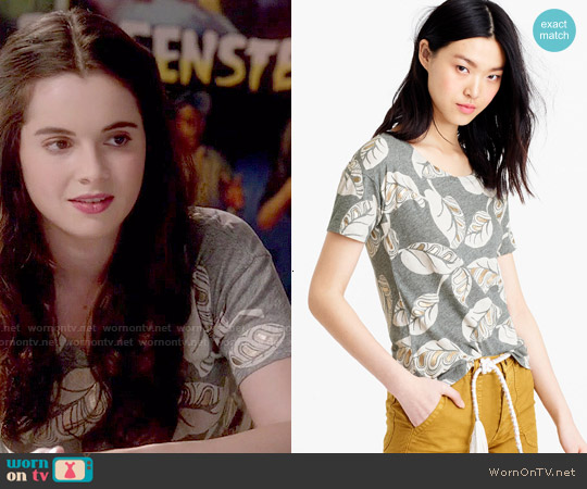 J. Crew Metallic Tropical Frond T-shirt worn by Vanessa Marano on Switched at Birth