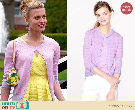 J. Crew Microcheck Cardigan in Pink/Purple worn by Brooke D'Orsay on Royal Pains