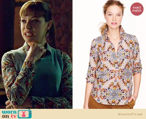 J. Crew Misty Fog Floral Popover worn by Tatiana Maslany on Orphan Black