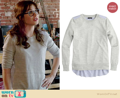 J. Crew Mixed-media Sweater worn by Zooey Deschanel on New Girl