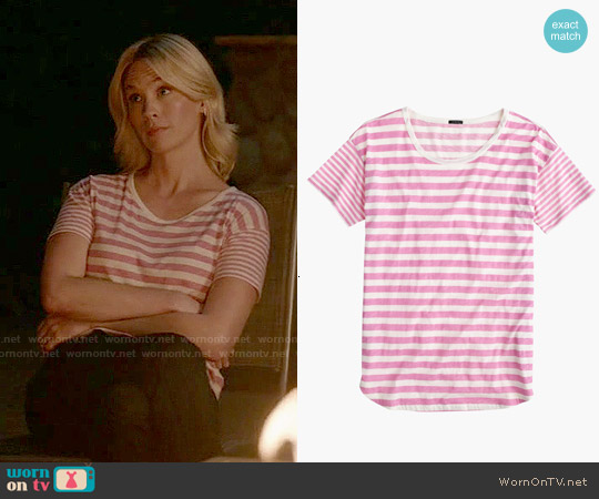 J. Crew Mixed-stripe Vintage Cotton T-shirt with Rounded Hem in Carded Sunwashed Peony worn by January Jones on Last Man On Earth
