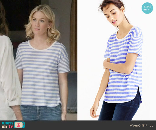 J. Crew Mixed Stripe T-shirt worn by January Jones on Last Man On Earth