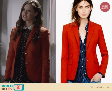 J. Crew New Schoolboy Blazer in Red worn by Merrit Patterson on Ravenswood