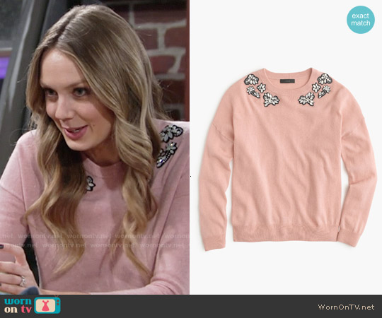 J. Crew Pink Opal-embellished Sweater worn by Melissa Ordway on The Young & the Restless