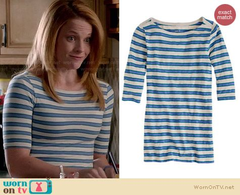 J. Crew Painter Elbowsleeve Boatneck Tee in Nautical Stripe worn by Katie Leclerc on Switched at Birth