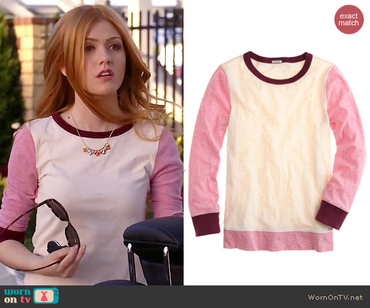 J. Crew Painter Colorblock Tee in Hthr Rose Natural worn by Katherine McNamara on Happyland