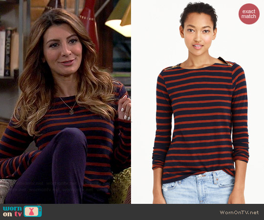 J. Crew Painter Tee with Zips in Navy Bronzed Brown worn by Nasim Pedrad on Mulaney