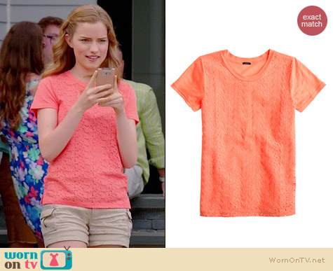 J. Crew Paisley Eyelet Tee in Coral Haze worn by Willa Fitzgerald on Royal Pains