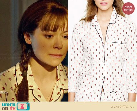 J. Crew Pajama Set in Fleur de Lis worn by Tatiana Maslany on Orphan Black