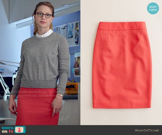 J. Crew Pencil Skirt in Wool Crepe worn by Kara Danvers on Supergirl