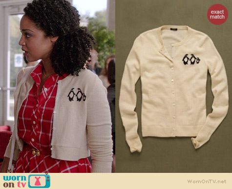 J. Crew Penguin Cardigan worn by Aisha Dee on Chasing Life