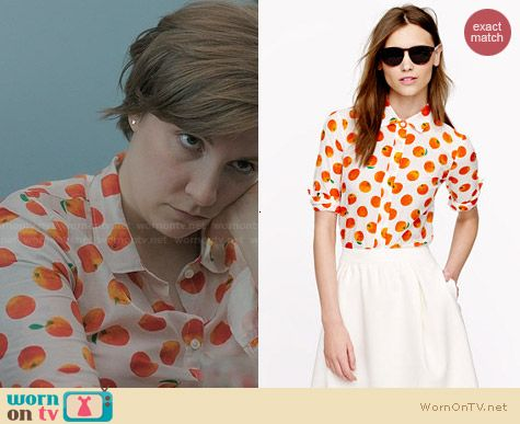 J. Crew Perfect Shirt in Citrus Print worn by Lena Dunham on Girls
