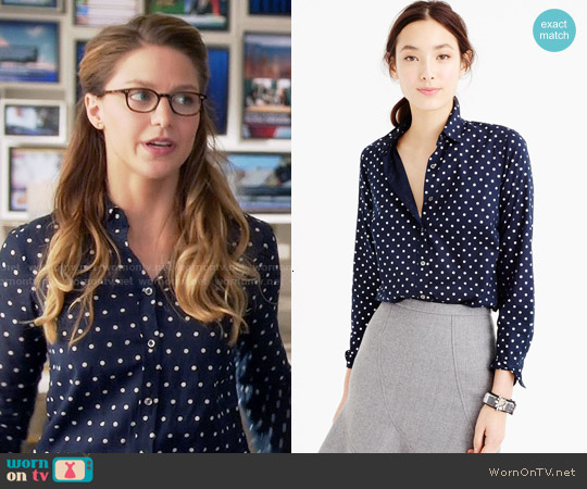 J. Crew Perfect Shirt in Foil Dot in Navy Silver worn by Melissa Benoist on Supergirl
