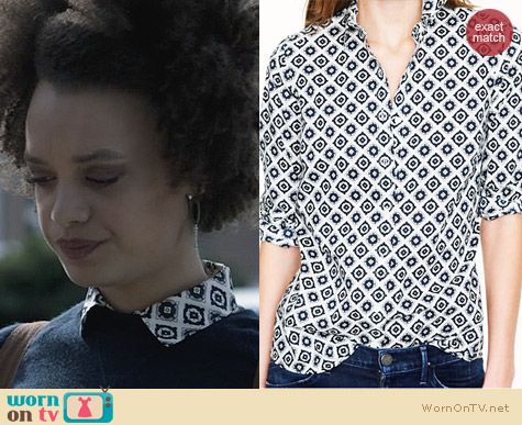 J. Crew Perfect Shirt in Foulard worn by Britne Oldford on Ravenswood