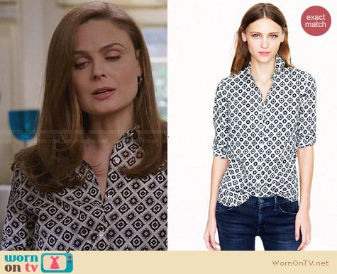 J. Crew Perfect Shirt in Foulard worn by Emily Deschanel on Bones
