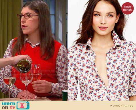 J. Crew Perfect Shirt in Papaya Paisley worn by Mayim Bialik on The Big Bang Theory