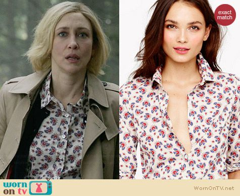 J. Crew Perfect Shirt in Papaya Paisley worn by Vera Farmiga on Bates Motel