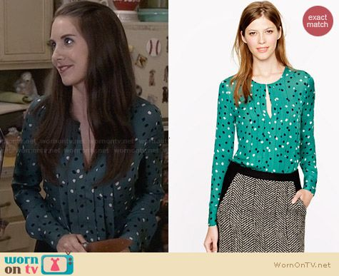 J. Crew Pleated Silk Blouse in Abstract Dot worn by Alison Brie on Community