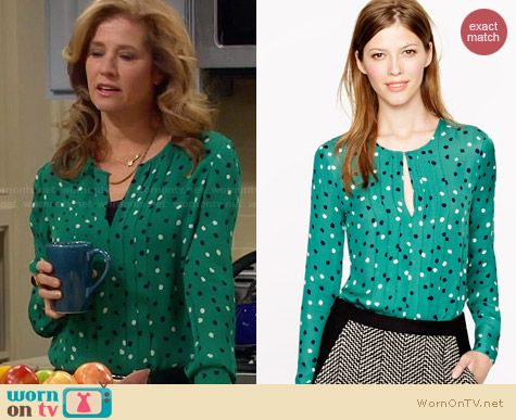 J. Crew Pleated Silk Blouse in Abstract Dot worn by Nancy Travis on Last Man Standing