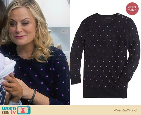 J. Crew Pointelle Dot Sweater worn by Amy Poehler on Parks & Rec