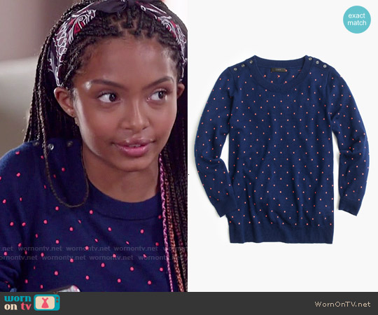 J. Crew Polka Dot Tippi Sweater in Midnight Dahlia worn by Yara Shahidi on Blackish