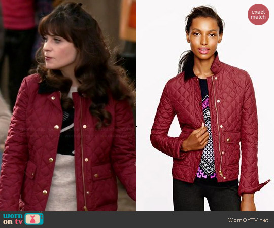 J. Crew Quilted Tack Jacket worn by Zooey Deschanel on New Girl