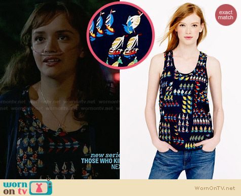 J. Crew Ratti Regata Top worn by Olivia Cooke on Bates Motel