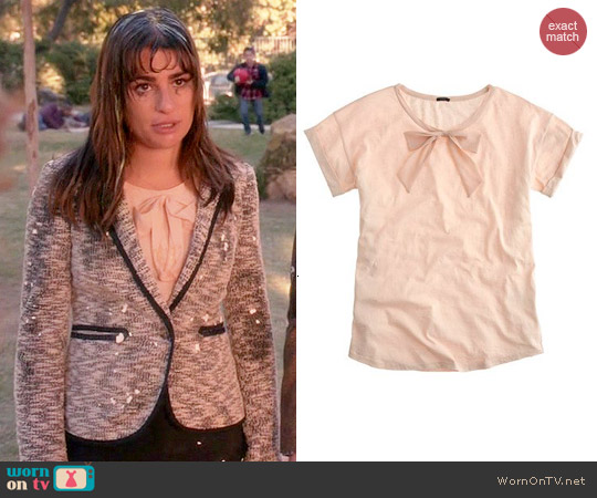 J. Crew Roll Sleeve Tee with Bow worn by Rachel Berry on Glee