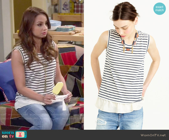 J. Crew Ruffle Hem Tank Top in Stripe worn by Aimee Carrero on Young & Hungry