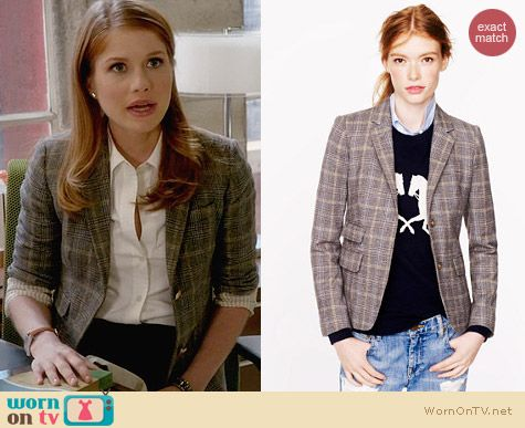 J. Crew Schoolboy Blazer in English Tweed worn by Genevieve Angelson on House of Lies