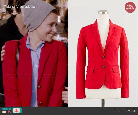 J. Crew Schoolboy Blazer in Red worn by Italia Ricci on Chasing Life