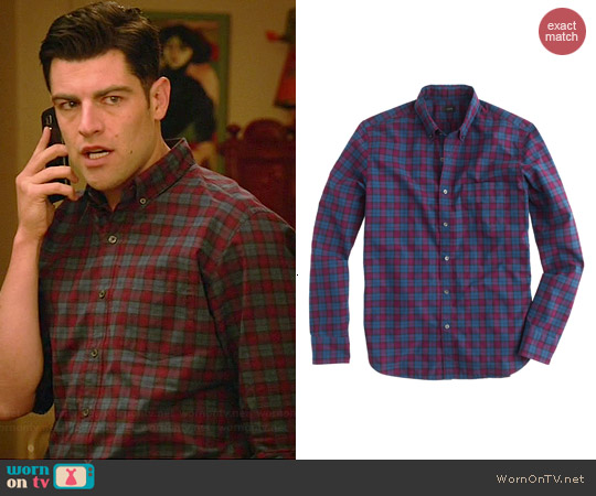J. Crew Secret Wash Shirt in Atlantic Bay Tartan worn by Max Greenfield on New Girl