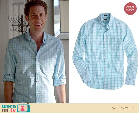 J. Crew Secret Wash Shirt in Classic Check in Coastline Aqua worn by Paulo Constanzo on Royal Pains