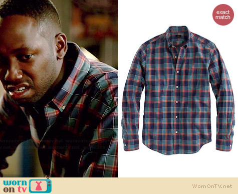 J. Crew Secret Wash Shirt in Hthr Deep Sea Plaid worn by Lamorne Morris on New Girl