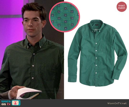 J. Crew Secret Wash Shirt in Foulard Print in Classic Pine worn by John Mulaney on Mulaney