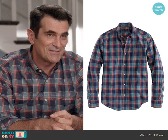J. Crew Secret Wash Shirt in Heather Deep Sea Plaid worn by Ty Burrell on Modern Family